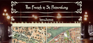 "<a href='http://petersburg.berkeley.edu/luke/luke_front.html'  target='_blank'><em> The French in St. Petersburg</em></a> is one of the interconnected segments of <a href='http://petersburg.berkeley.edu' target='_blank'><em>Mapping Petersburg</em></a>.  Designed to be integrated into the group, the site with its unique graphical user interface can exist by itself.<br><br> 								I designed the site's interface and its graphics, and coded it with HTML and CSS. The author wrote: ""It has been really easy to work with you, and the site is beautiful! """