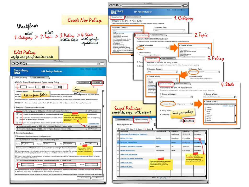 Bloomberg BNA: Application wireframes