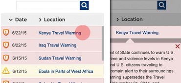 Making a U.S. Passports & International Travel: <a href='http://travel.state.gov/content/passports/english/alertswarnings.html' target='_blank'>Alerts and Warnings</a> page responsive and user-friendly on mobile devices was a part of the Department of State site redesign project. I created phone screen mockups of the page that presented visual designs for a number of possible interactions.